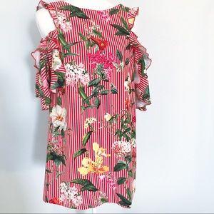 Zara floral striped cold shoulder mini dress XS